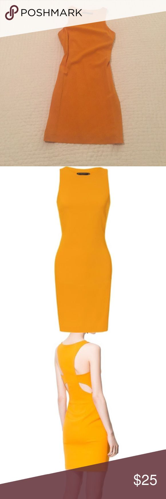 Zara back cut out dress Mango color back cut out dress, fits like a glove! Perfect for spring weddings or events. Zara Dresses Mini