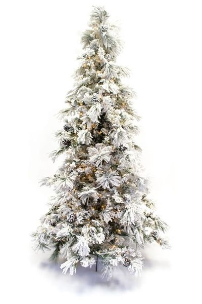 9' Flocked Long Needle Super-Realistic Artificial Christmas Tree