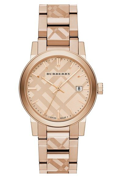 Burberry Check Stamped Bracelet Watch, 34mm (Regular Retail Price: $795.00) available at #Nordstrom