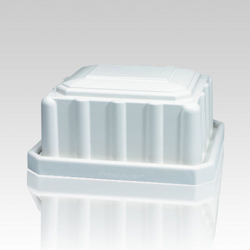 The Pet Casket is constructed from a standard polystyrene material which is not biodegradable. The white exterior features an architectural column relief design on the sides and a raised carapace dome lid. Provides protection with inverted dome air pressure.  Closure: Adhesive Coupled With Tongue in Groove Fitting.