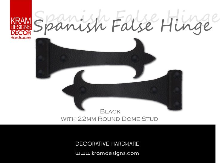 Spanish False Hinge with 22mm Round Dome Studs by Kram Designs Decor Hardware. www.kramdesigns.c...