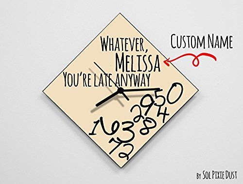 """Custom Name Whatever, Whatever, you're late anyway / Polygon Beige- Wall Clock. Please note that when you buy a custom made Wall clock, I will need the name to add it on the clock After you buy it, you can go to """"Manage Orders"""" and locate the order. Click on my shop's name in the """"Contact Buyer"""" column. On the next page, email me the name you would like to add.If would you like to choose any other color for the background or the hands color, just email me about it. ✔ SPECIFICATIONS ❂ 3mm..."""