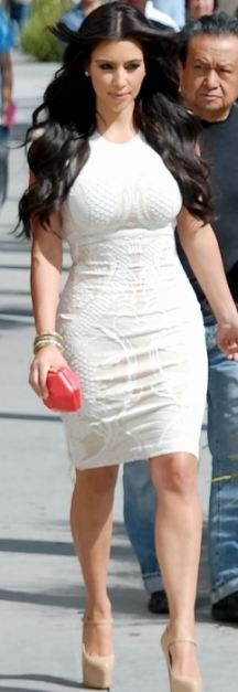 Who made Kim Kardashian's nude mary jane pumps and white dress that she wore in Los Angelse on May 18, 2011?