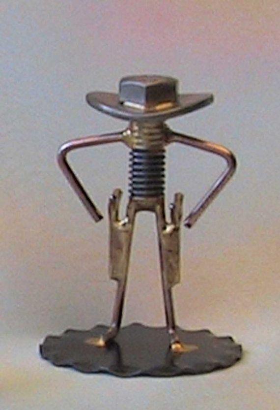 Nut and bolt cowboy gunslinger by enjoyingantiques on etsy for Craft welding ideas