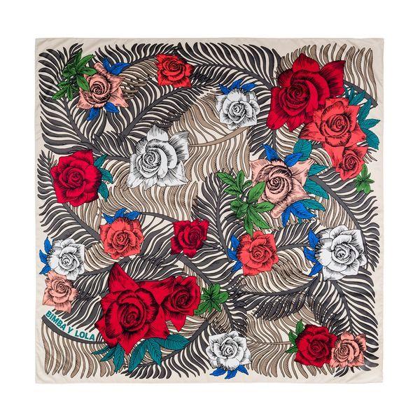 Rose print beige scarf