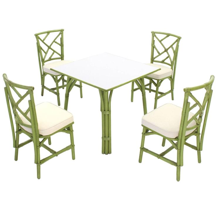 Square Game Table and Four Chairs Green Faux Bamboo  | From a unique collection of antique and modern dining room sets at https://www.1stdibs.com/furniture/tables/dining-room-sets/