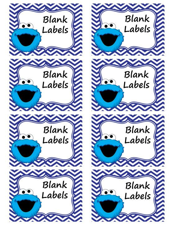 8 Blank Cookie Monster Labels Instant By