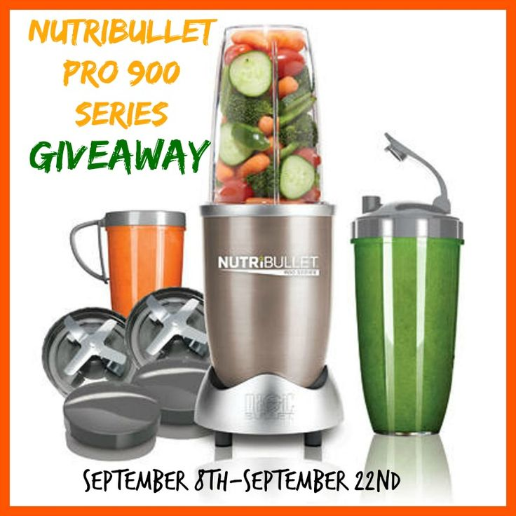 NutriBullet Pro 900 Series Giveaway  One lucky winner will receive a NutriBullet Pro 900 Series. Value of $129.99. The giveaway is open to the U.S. and Canada only. This will run from 9/8-9/22/2014. Good luck to everyone.