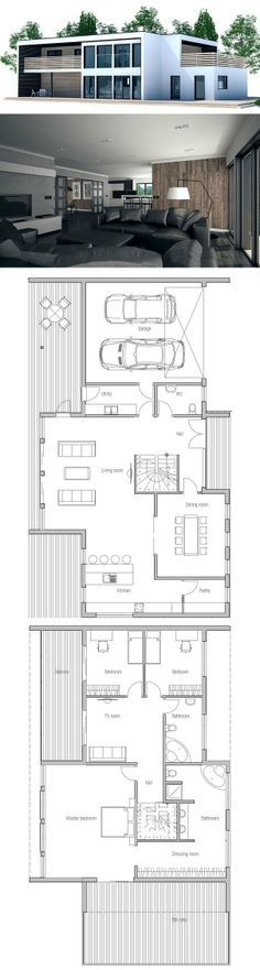 Large Contemporary House Plan.