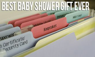 Best Baby Shower Gift Ever - a folder to organize all the important papers and documents that go along with having a baby.  So practical!
