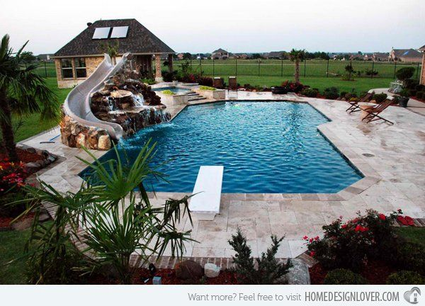 travertine geometric pool with rock slide and grotto traditional pool dallas sams outdoor living - Outdoor Backyard Pools
