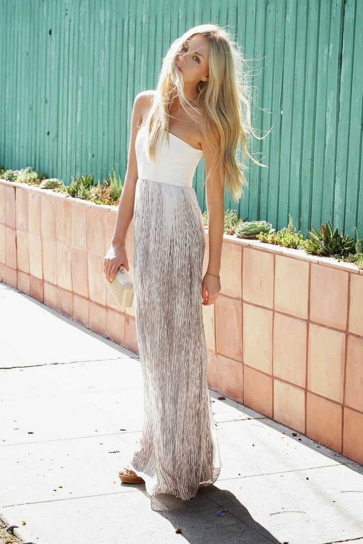 Beautiful White&Beige Maxi Dress with Clutch Bag and High Heel Shoes