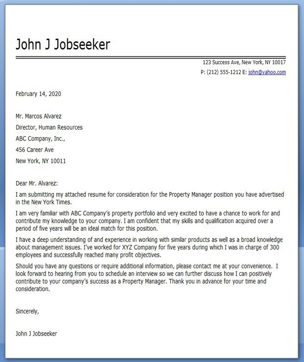 commercial property manager cover letter work