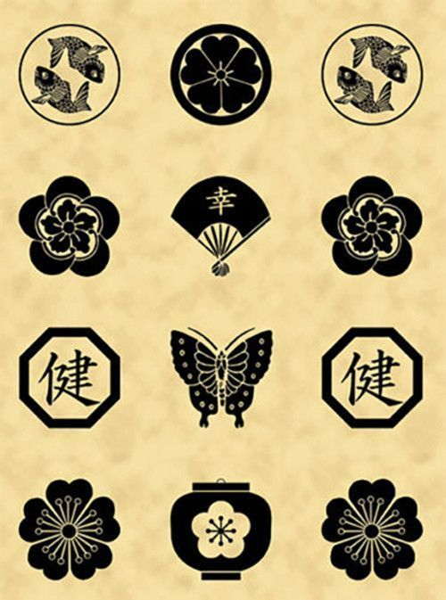 This Panel Features Japanese Family Crests Or Mon In Black On A