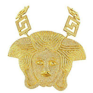 Medusa Pendant For Men Iced Out 14k Gold Finish Simulated Diamonds Sale. Sparkling Stones.