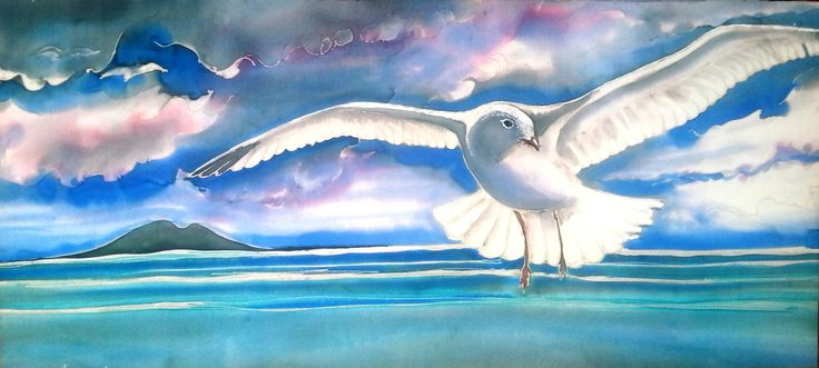 OUTDOOR ART, SEAGULL in Flight, over Rangitoto New Zealand, Garden Art, Bird Art, Panel from my original silk painting, 49cm x 22cm, by KaySatherleyArt on Etsy