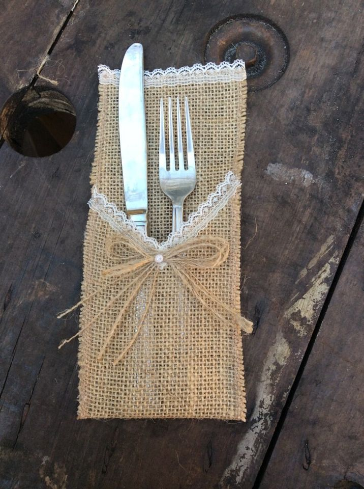 50pc shabby silverware rustic country wedding lacepearl
