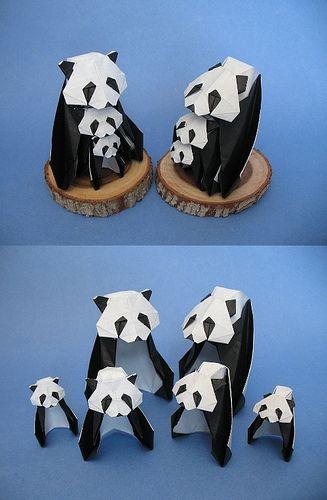 animales con papel origami niños panda