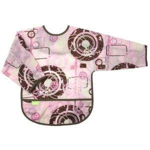 Kushies full sleeved bibs are a great way to keep any self-feeding baby as clean as possible- even with spaghetti!  They are easy to rinse off as well.  Obviously more expensive than many other bibs but they last a long time, not to mention the clothes they prevent from being damaged from stains.