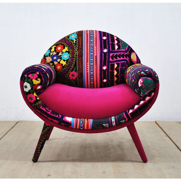Smiley Patchwork Armchair Pink Love ($1,600) ❤ liked on Polyvore featuring home, furniture, chairs, accent chairs, chairs & ottomans, grey, home & living, living room furniture, grey armchair and european furniture