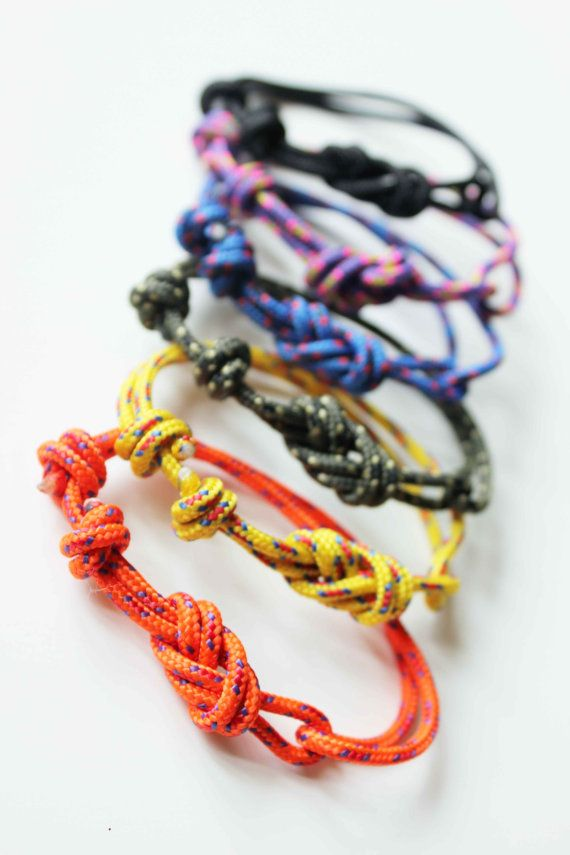 Rope Bracelet - Unisex Figure 8 Rock Climbing Bracelet - New Yellow...... Could make this easily just need to learn how to make the knots
