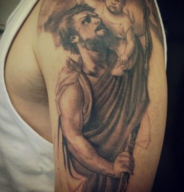 Start of my St Christopher #Tattoo #blackandgreytattoo #awesometattoo #stchristopher #stchristophertattoo#religoustattoo