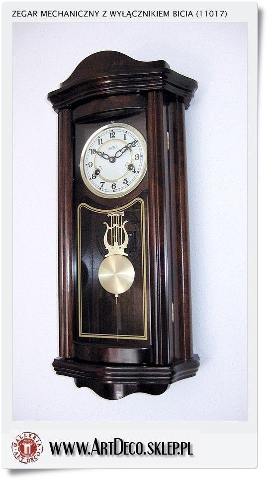 Zegar mechaniczny Adler 11017 wiszący ścienny z wyłącznikiem bicia - Czytelna Tarcza arabska