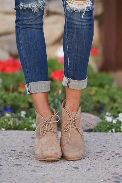 A trendy treat for your feet! Lace up, vegan suede wedge booties. These booties have a comfortable fit and give your feet plenty of support! Approx. Measurement