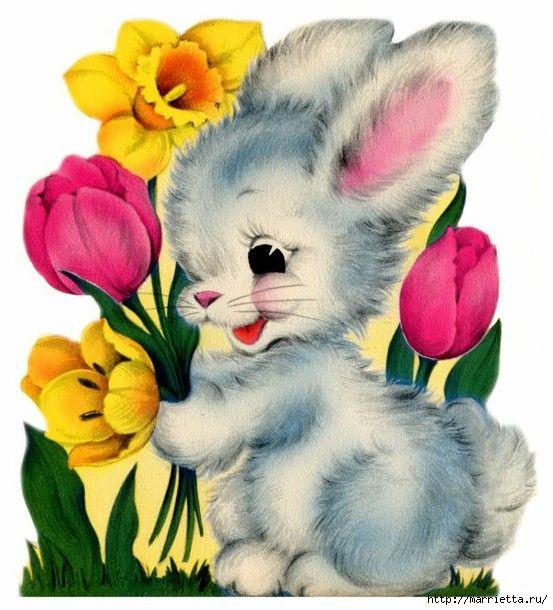 Картинки зайчиков с розами, юбилеем