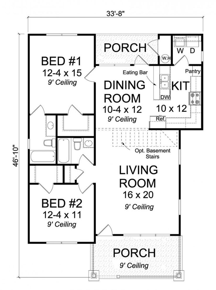 656296 2 bedroom 2 bath traditional cottage with open floor plan and all walk - 2 Bedroom House Plans