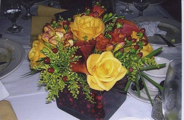 Fall Summer Winter Burgundy Orange Red Yellow Centerpiece Wedding Flowers Photos & Pictures - WeddingWire.com