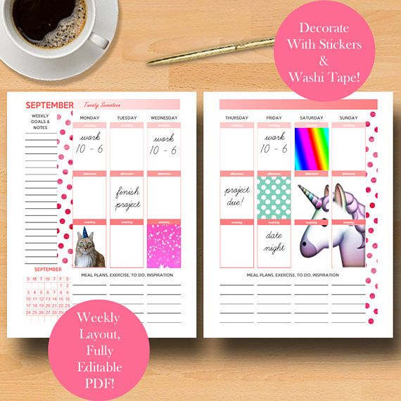 Weekly Planner Printable, Daily Planner Pages, Printable Editable Weekly Monthly Printables, Daily Monthly Template Letter Size PDF Download https://www.etsy.com/listing/540809925