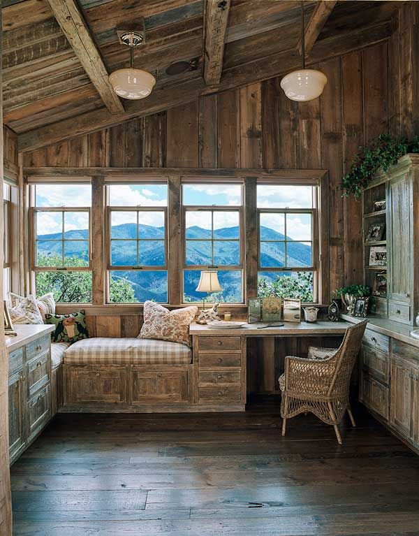 Office reading nook i don 39 t care i 39 ll take it for Log cabin sunrooms