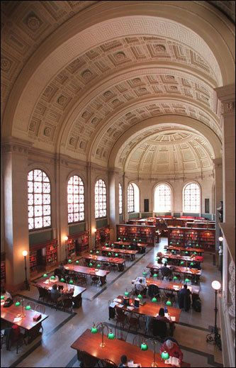 Bates Room, Boston Public Library This reading room remains one of the most significant spaces in the Boston Public Library.
