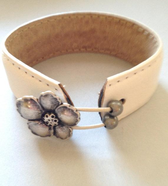 Hawaiian Wedding Leather Cuff by MellissaJill on Etsy, $22.00