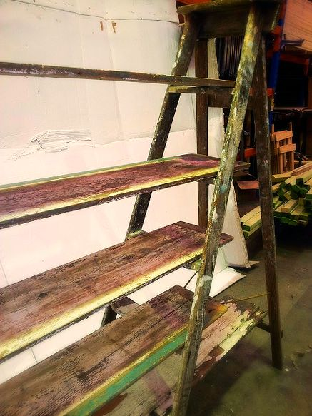 Ladders and Shelves Need extra storage at your pop up shop or fashion event? These antique ladders and shelves are a unique way to display your items!