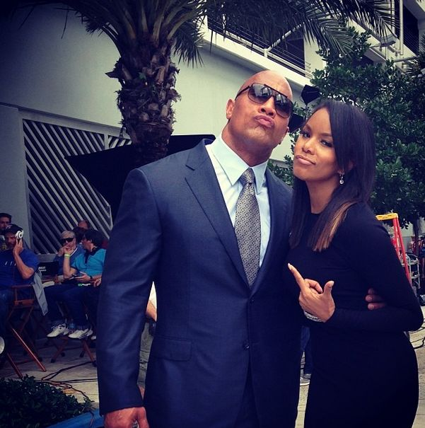 """mrmaleficent:  The Rock & LeToya Luckett on the set of a Pilot for HBO called, """"Ballers"""""""