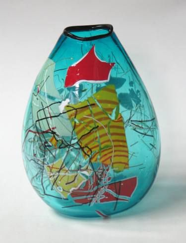 """Saatchi Art Artist Keith Grinter; Sculpture, """"Copper Blue blown glass vase with yellow, ornage and red shards"""" #art"""