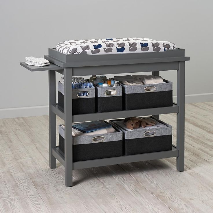 Change It Up Changing Table (Gray)-Create a perfect, convenient changing station with this smart storage piece from @landofnod  Changing table, boys's nursery, neutral nursery, nursery storage, contemporary nursery