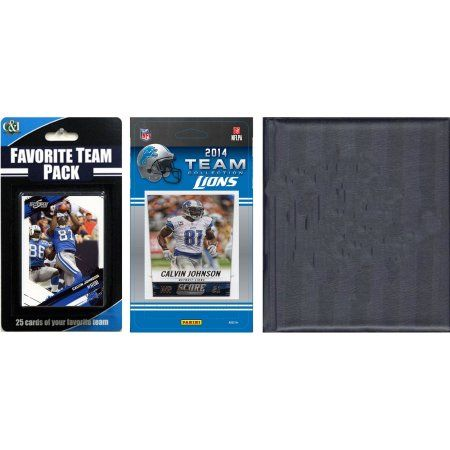 C Collectables NFL Detroit Lions Licensed 2014 Score Team Set and Favorite Player Trading Card Pack Plus Storage Album