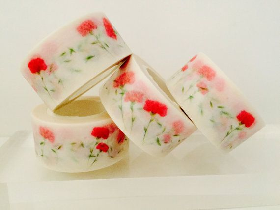 Red Carnations Washi Tape by GoatGirlMH on Etsy