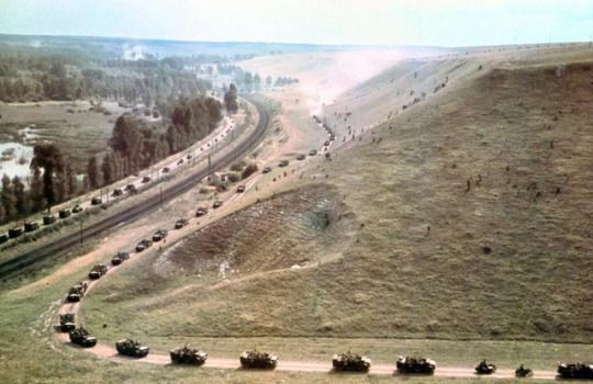 Shown here is a mechanised column of the 7. Panzer-Division, commanded by Generalmajor Erwin Rommel, on the move during the Blitzkrieg through France in the last days of May 1940. The photo was taken by General Rommel himself.