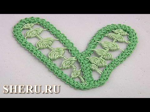 Длинный листик вышитый в румынской технике Урок 77 Romanian Leaf Lace