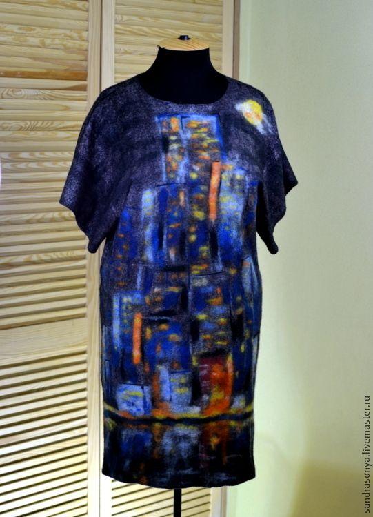 """Купить Платье войлочное """"Ночной Нью-Йорк"""" - платье, валяное платье, платье валяное, нунофелтинг"""