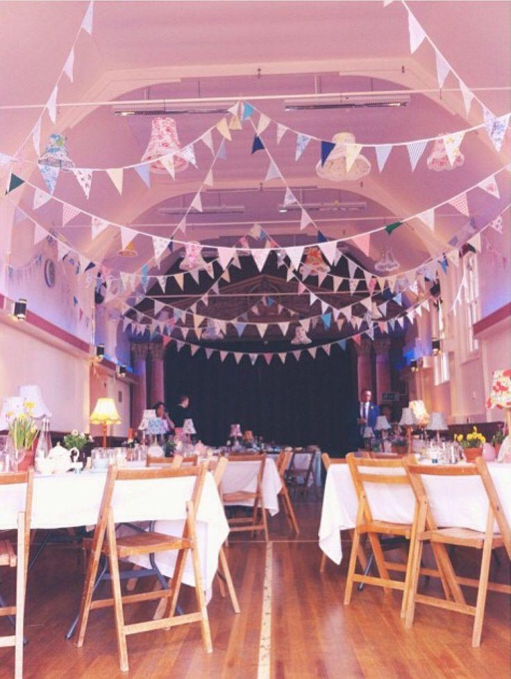 Hunsdon Village hall, afternoon tea, wedding, bunting, lampshades