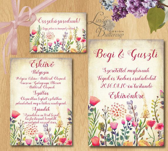 Rustic wedding invitation Bohemian wedding by LindaButtercupDesign