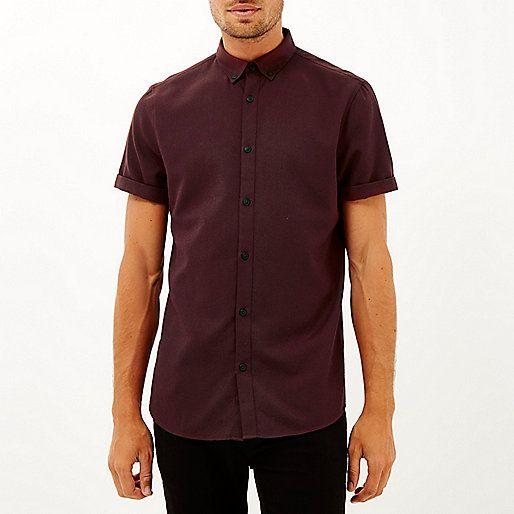 Chemise en flanelle rouge à manches courtes - Chemises - Promos - Homme