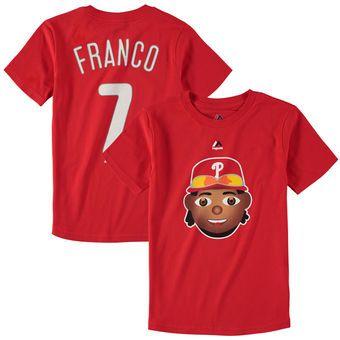 Youth Philadelphia Phillies Maikel Franco Majestic Red Name & Number Emoji T-Shirt