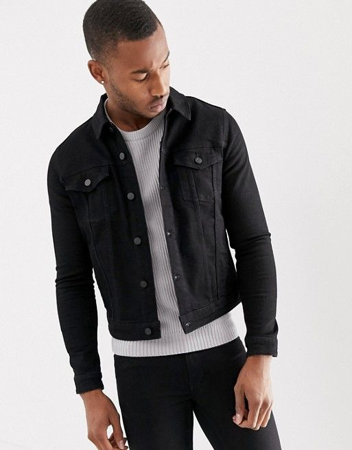 e3534d0b759a6 DESIGN skinny western denim jacket in black in 2019 | Outfits ...