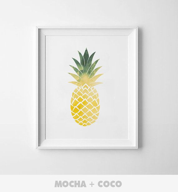 Watercolor Pineapple Printable Poster Floral print by MochaAndCoco
